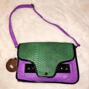 Nila Anthony Purple & Green Color Block Handbag